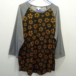 LuLaRoe 3/4 Sleeve Top Floral 3XL Gray Orange